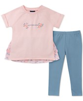 390710055304 Calvin Klein Toddler Girls Floral Tunic & Leggings Set
