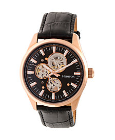 Heritor Automatic Stanley Rose Gold & Black Leather Watches 43mm