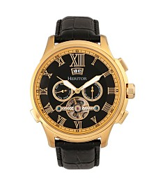 Heritor Automatic Hudson Gold & Black Leather Watches 47mm