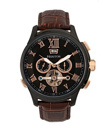 Heritor Automatic Hudson Black & Brown Leather Watches 47mm