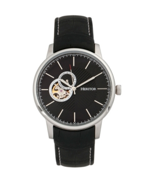 Automatic Landon Silver & Black Leather Watches 44mm