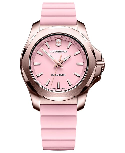 Victorinox Swiss Army Women's Swiss I.N.O.X V Pink Rubber Strap Watch 37mm
