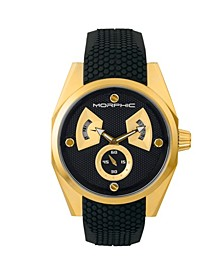 M34 Series, Gold/Black Silicone Watch, 44mm