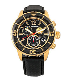Morphic M51 Series Chronograph Leather-Band Watch w/Date - Gold/Black