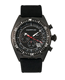 Morphic M53 Series, Black Case, Chronograph Fiber Weaved Black Leather Band Watch w/Date, 45mm