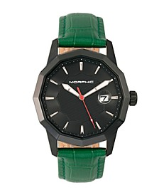 M56 Series, Black Case, Green Leather Band Watch w/Date, 42mm
