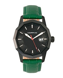 Morphic M56 Series, Black Case, Green Leather Band Watch w/Date, 42mm