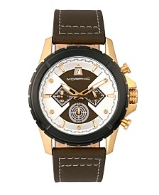 Morphic M57 Series, Gold Case, Olive Chronograph Leather Band Watch, 43mm