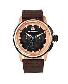 M61 Series, Rose Gold Case, Dark Brown Leather Chronograph Band Watch w/Date, 45mm