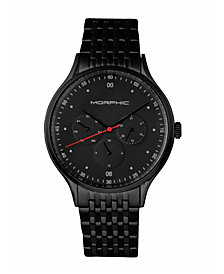 Morphic M65 Series, Black Face, Black Bracelet Watch w/Day/Date, 42mm