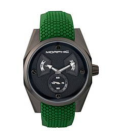 M34 Series, Black/Green Silicone Watch, 44mm