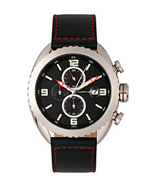 Morphic M64 Series, Silver Case, Chronograph Black Leather Band Watch w/ Date, 48mm