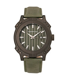 M68 Series, Black Case, Olive Leather Band Watch w/Date, 44mm