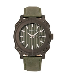 Morphic M68 Series, Black Case, Olive Leather Band Watch w/Date, 44mm