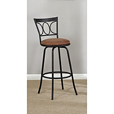 Slenderly Modern Metal & Microfiber Cushion Swivel Barstool, Black (Set Of 2)