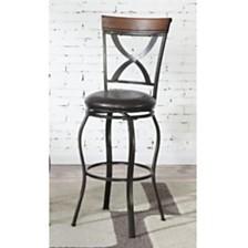 Swivel Barstool With Curved X Design On Back, Set Of 2, Black