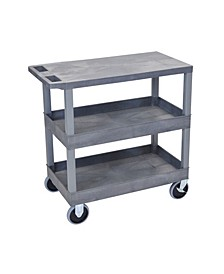 "32"" x 18"" Two Tub/One Flat Shelves Utility Cart - Gray"
