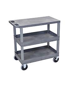 "Clickhere2shop 32"" x 18"" Two Tub/One Flat Shelves Utility Cart - Gray"