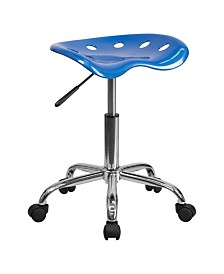 Offex Vibrant Wine Tractor Seat and Chrome Stool