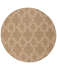 "Alfresco ALF-9587 Camel 5'3"" Round Area Rug, Indoor/Outdoor"