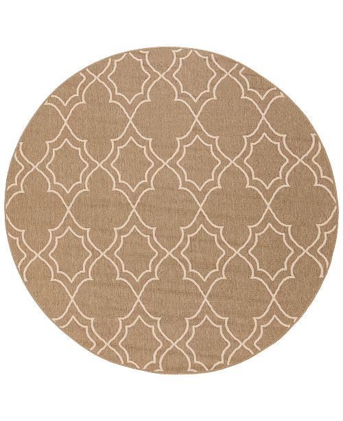 "Surya Alfresco ALF-9587 Camel 7'3"" Round Area Rug, Indoor/Outdoor"