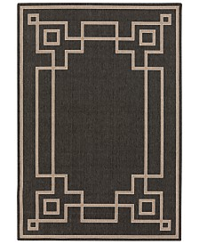 "Surya Alfresco ALF-9630 Black 7'6"" x 10'9"" Area Rug, Indoor/Outdoor"