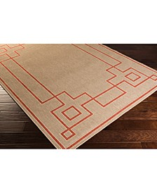 "Alfresco ALF-9633 Rust 5'3"" x 7'6"" Area Rug, Indoor/Outdoor"