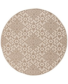 "Alfresco ALF-9635 Camel 7'3"" Round Area Rug, Indoor/Outdoor"