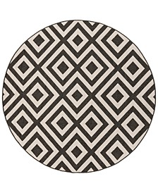 "Alfresco ALF-9639 Black 8'9"" Round Area Rug, Indoor/Outdoor"