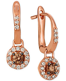 Le Vian® Chocolate® & Nude™ Diamond Halo Drop Earrings (1/2 ct. t.w.) in 14k Rose Gold