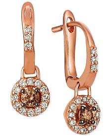 Le Vian® Chocolate® & Nude™ Diamond Halo Drop Earrings (1/2 ct. t.w.) in 14k Rose Gold