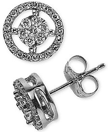 Diamond Cluster Halo Stud Earrings (1/4 ct. t.w.) in 10k White Gold