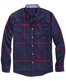 Tommy Hilfiger Adaptive Men's Ben Plaid  Stretch Shirt with Magnetic Buttons