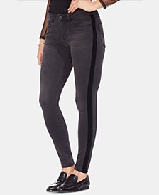 Vince Camuto Velvet-Trim Skinny Jeans