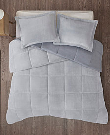 Intelligent Design Carson Twin or Twin XL Reversible Frosted Print Plush To Heathered Micofiber 2-Piece Comforter Set