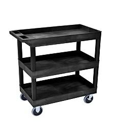 18 x 32 Tub Cart 3 shelves Black