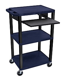 Offex Mobile Multipurpose Multimedia Presentation Cart with Open Shelves and Pull Out Tray