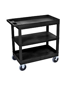 "Clickhere2shop 32"" x 18"" Two Flat/One Tub Shelves Utility Cart - Black"