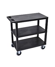 "Clickhere2shop 32"" x 18"" Three Flat Shelves Utility Cart - Black"