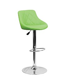 Offex Contemporary Green Vinyl Bucket Seat Adjustable Height Bar Stool with Chrome Base