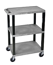 Offex OF-WT34GYS-B - Multipurpose Utility A/V Cart 3 Shelves - Black Legs