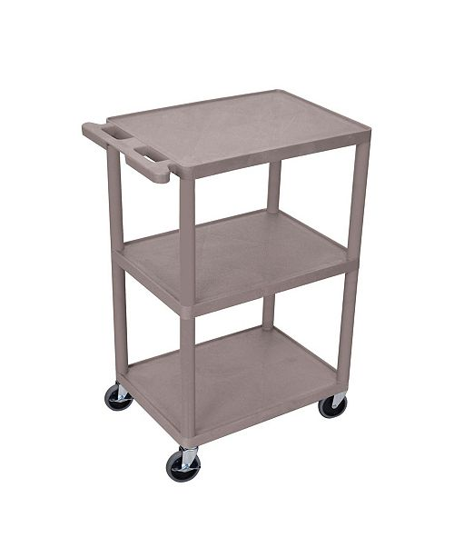 Clickhere2shop Structural Foam Plastic Utility Cart with 3 Shelves - Gray