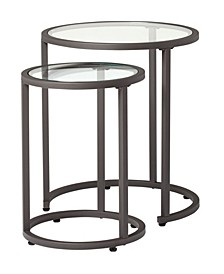 Modern Camber Collection Nesting Tables - Peter/Clear Glass