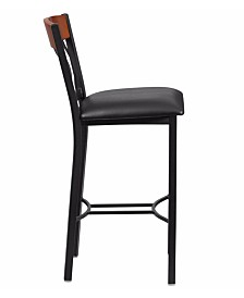 Offex Vertical Back Black Metal and Cherry Wood Restaurant Barstool with Black Vinyl Seat
