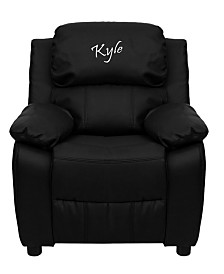 Offex Personalized Deluxe Padded Black Leather Kids Recliner with Storage Arms