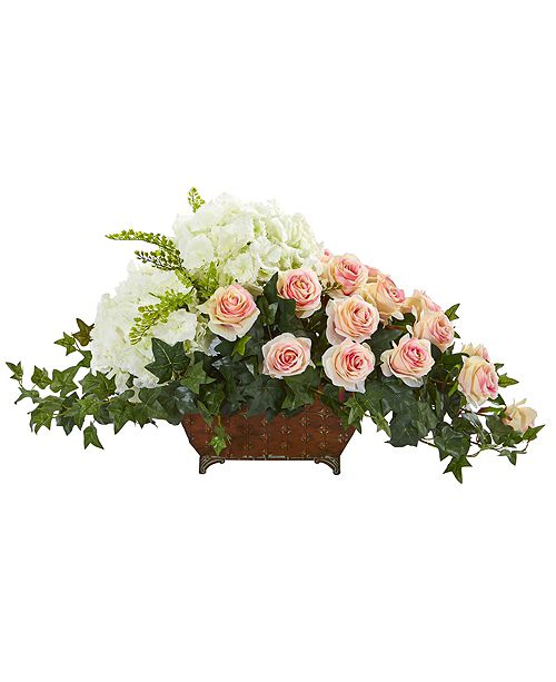 Nearly Natural Hydrangea and Rose Artificial Arrangement in Metal Planter