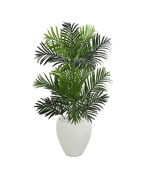 Nearly Natural Paradise Palm Artificial Tree in White Planter