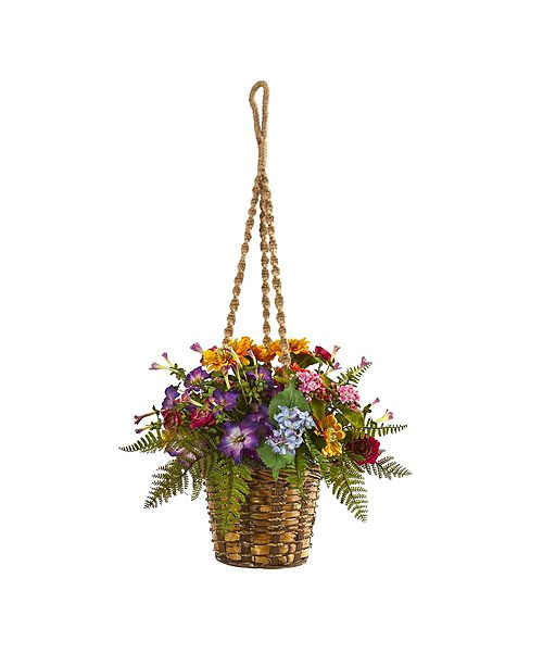 Nearly Natural Mixed Floral Artificial Plant in Hanging Basket