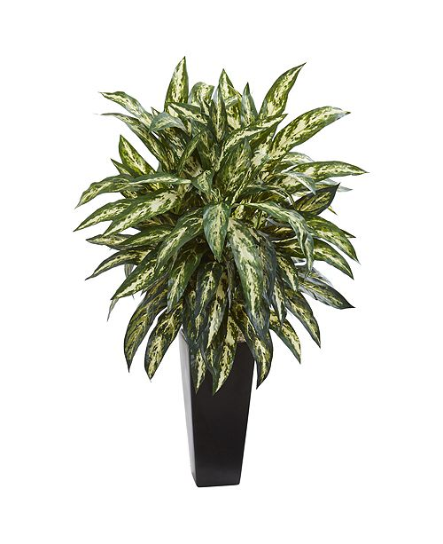 Nearly Natural Aglaonema Artificial Plant in Black Planter
