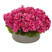 Nearly Natural Geranium Artificial Plant in Stone Planter UV Resistant
